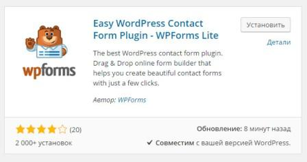 форма контактов для wordpress